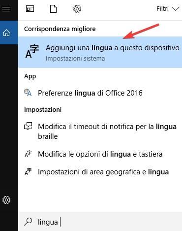 Cambiare lingua a Windows 10