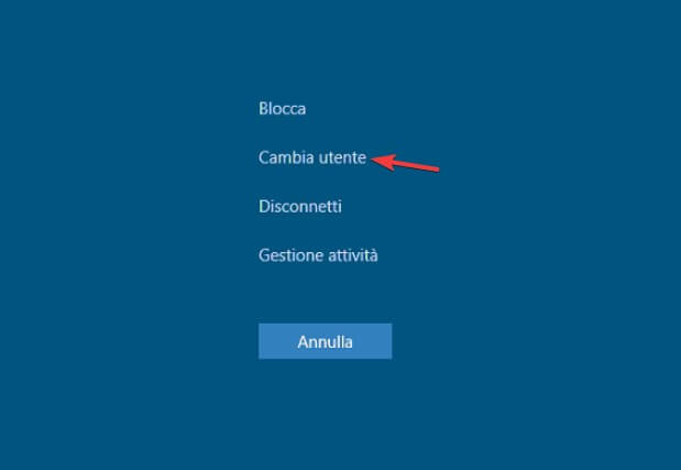 Cambia utente windows 10