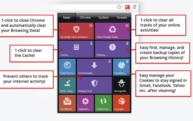 Click&Clean estensioni per rimuovere cronologia in automatico
