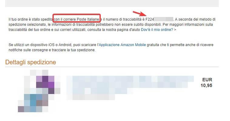 Corriere utilizzato e codice tracking Amazon