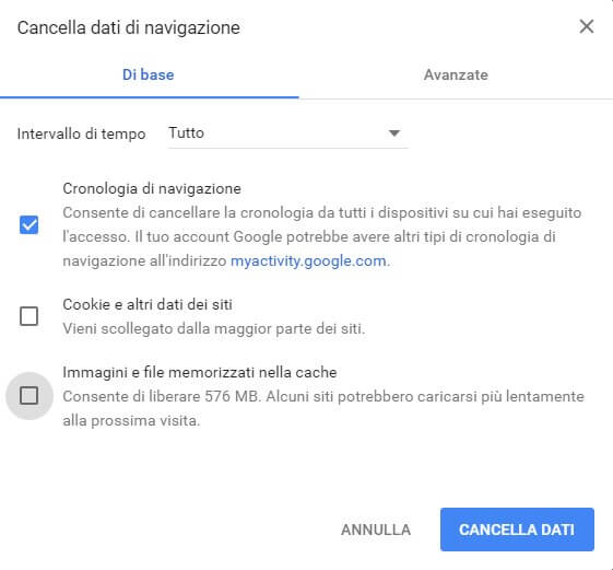 Cancellare la Cronologia di Google Chrome