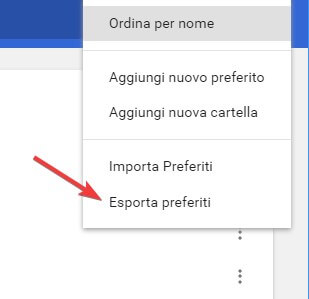 menu preferiti Chrome