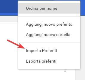 Importa preferiti Chrome