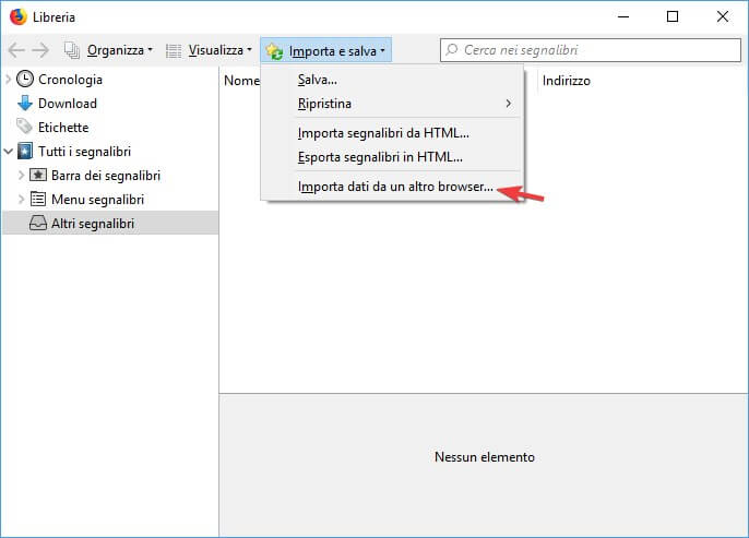Imposta dati da un altro browser
