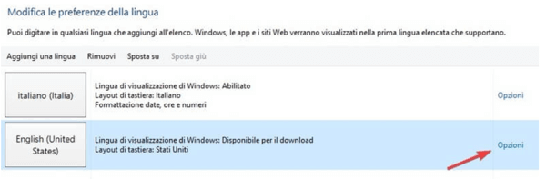 Impostazioni lingua Windows 10