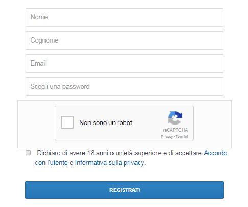 Registrazione a Coinbase