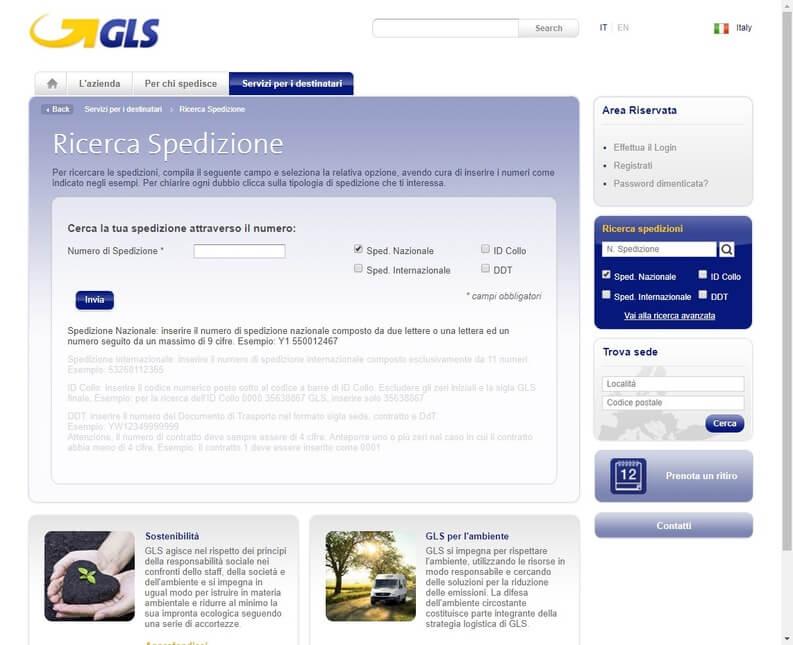 tracciare pacco GLS