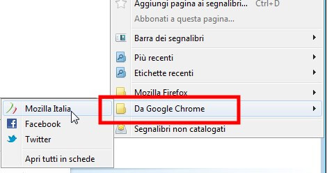 Segnalibri da google chrome