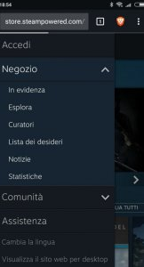 Steam da browser mobile
