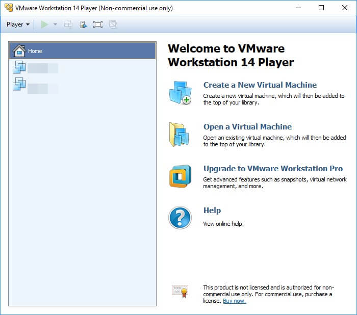 VMware Workstation Player installazione
