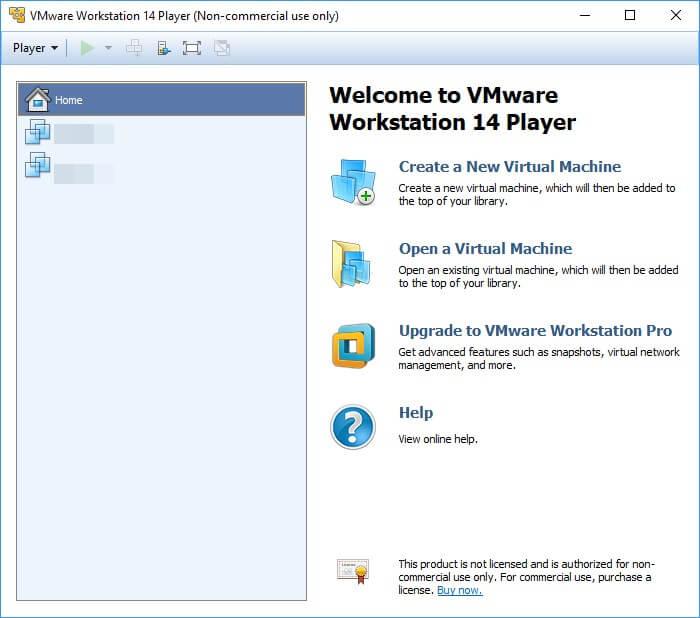 VMware Workstation Player installazione