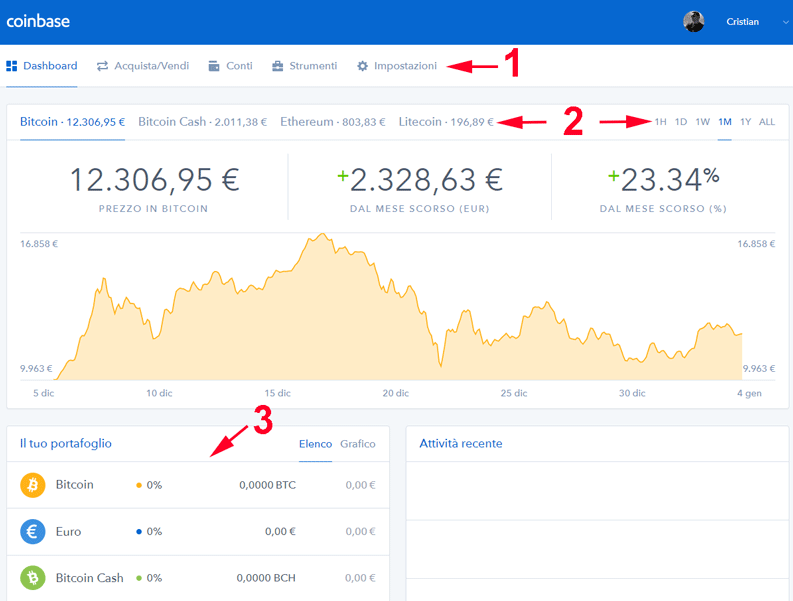 interfaccia di coinbase