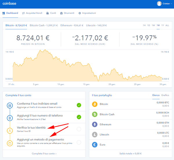 interfaccia verifica identita coinbase