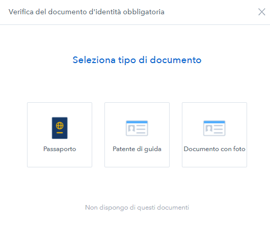 verifica documento coinbase