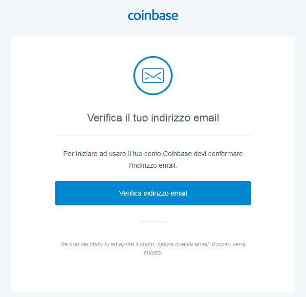 verifica indirizzo email coinbase