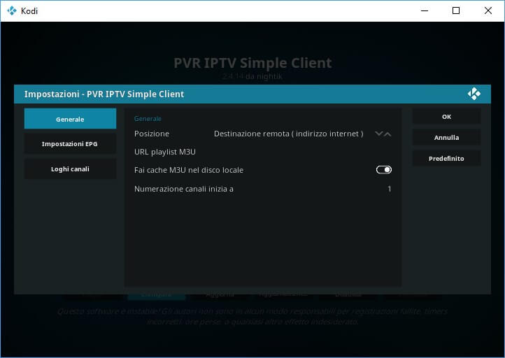 IPTV Simple Client per IPTV Kodi