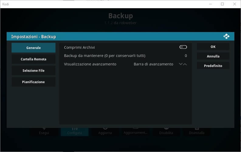 Backup per Kodi