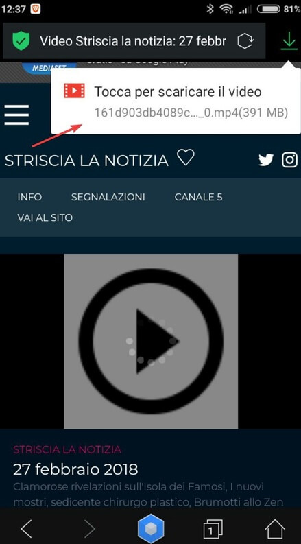 Scaricare video mediaset con Android