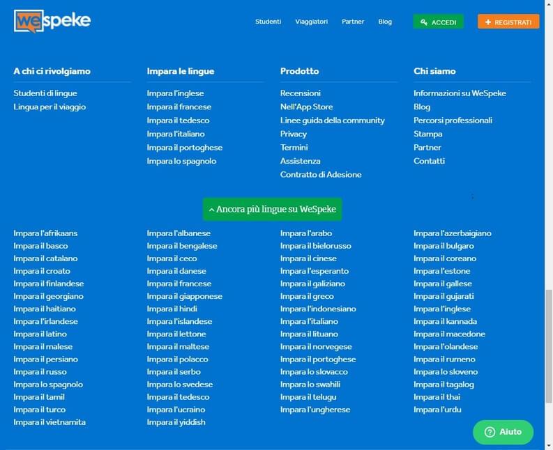 WeSpeke lingue disponibili