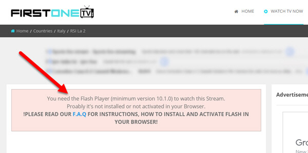 come risolvere you need the flash player