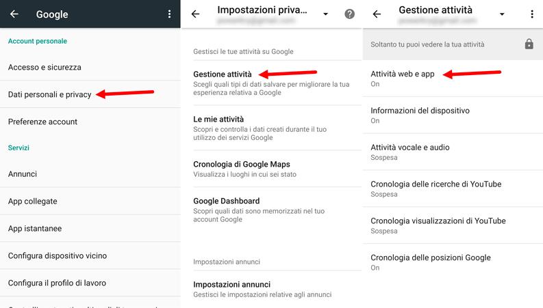 disattivare salvataggio dati google android