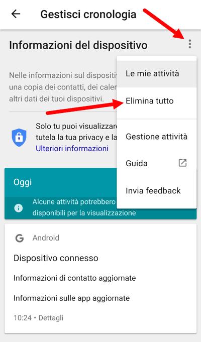 gestisci cronologia android