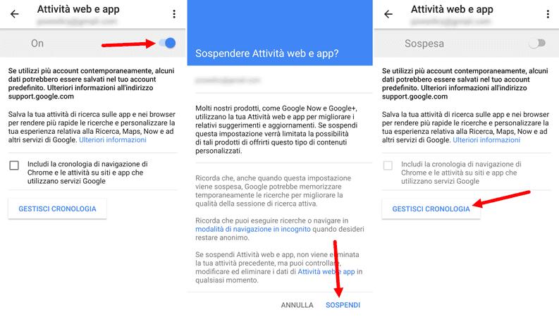 sospendere attivita web e app google