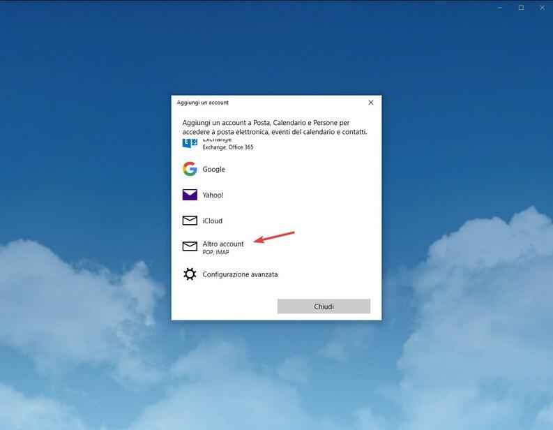 Account Posta Windows 10 aggiungere aruba mail