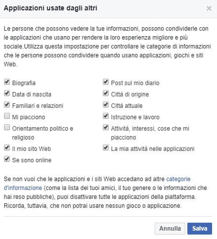 Applicazioni usate da altri Facebook