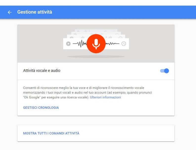 Attività vocale e audio google