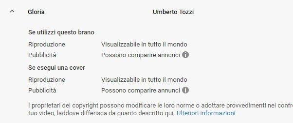 Brani concessi youtube