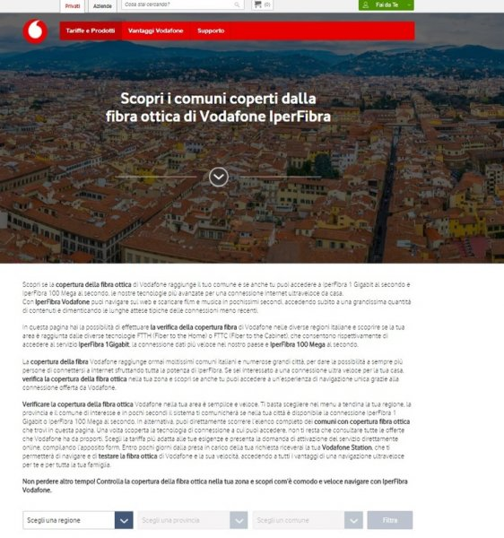 Verifica la Copertura fibra Vodafone