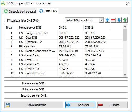 DNS Jumper lista DNS