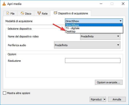 Desktop Acquisizione per la registrazione