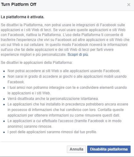 Disabilita piattaforma Facebook dati terzi