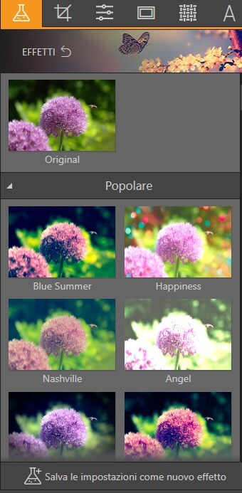 Wondershare Photo Editor Effetti
