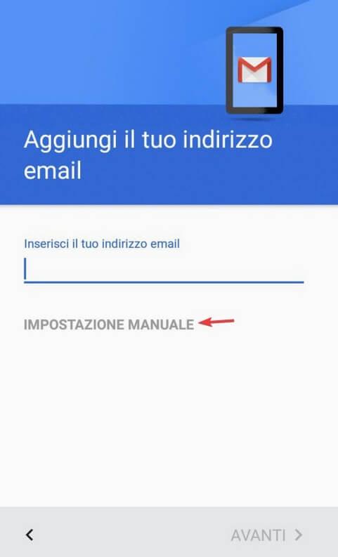 Impostazione manuale Gmail
