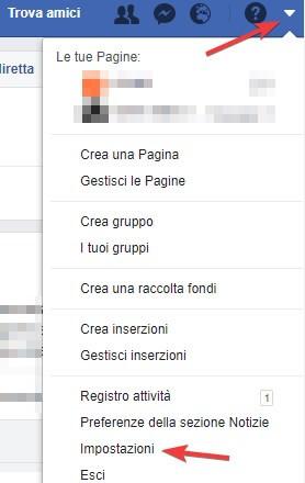 Impostazioni Facebook menu