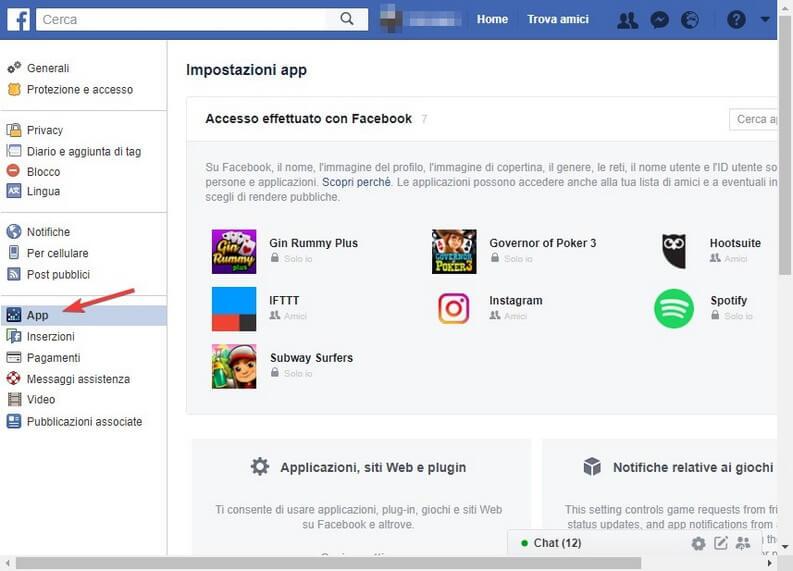 Impostazioni app Facebook