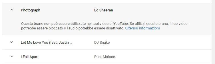Musica protetta Youtube