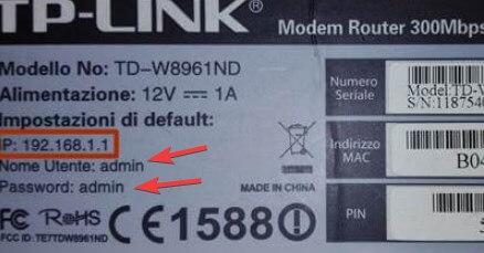 Password sull'etichetta router