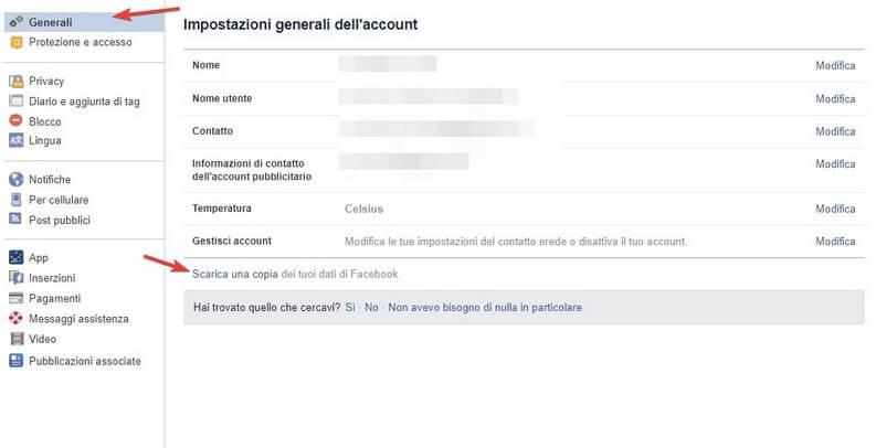 Scarica copia dati Facebook