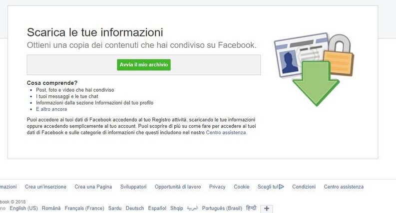 Scarica le tue informazioni Facebook