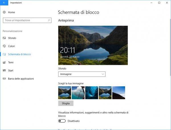 Schermata di blocco Windows 10