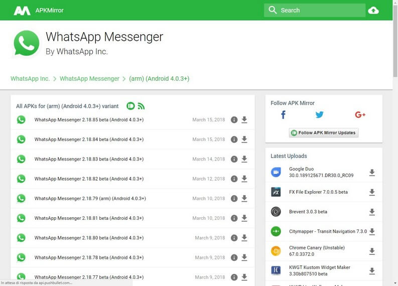 download WhatsApp Messenger APK mirror