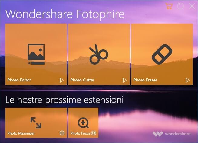 Wondershare Fotophire Interfaccia