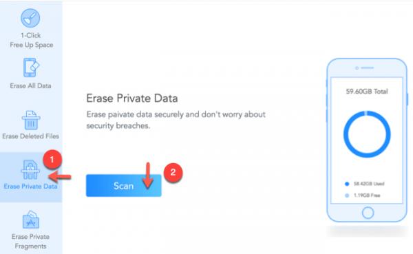 cancellare tutti i dati privati da un iphone