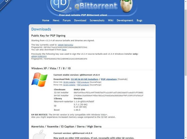 pagina di download di qBittorrent