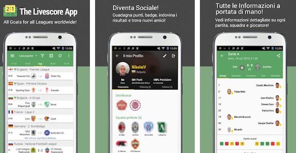 All Goals iOS e Android segui sport