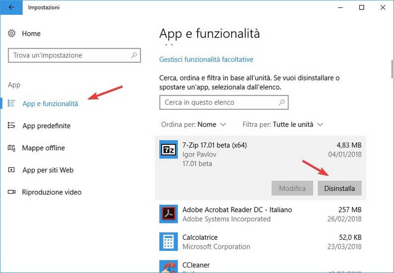Disinstallare app e funzionalità windows 10